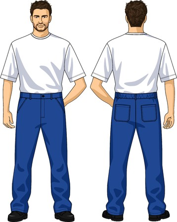back belt: Trousers for the man summer with pockets and loops Illustration
