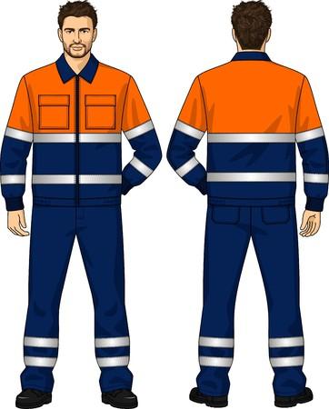 back belt: El juego del verano para el hombre de trabajo consiste en una chaqueta y pantalones Vectores