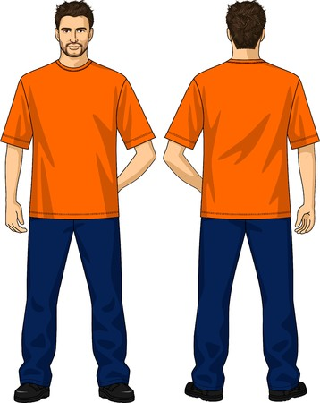 collarin: La demanda de trabajo para el hombre consiste en una camiseta y pantalones