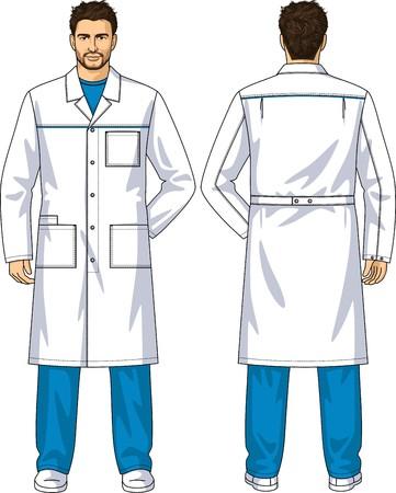 back belt: Bata para el hombre con los bolsillos y un cierre en los botones
