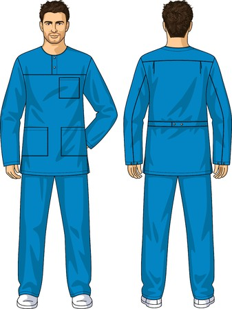 back belt: The suit summer for the medical worker consists of a jacket and trousers