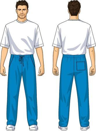 collarin: Pantalones de verano hombre con los bolsillos y cordones