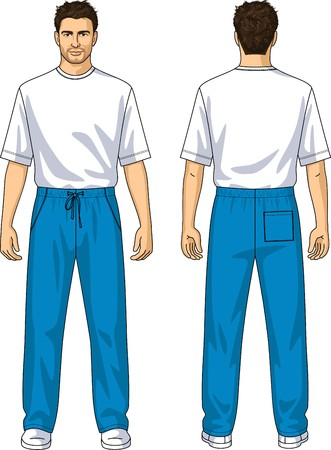 t shirt blue: Trousers for the man summer with pockets and laces Illustration