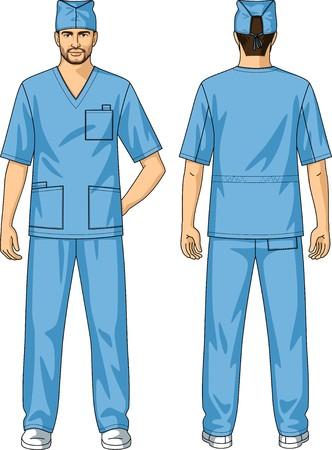 back belt: El juego del verano para el trabajador de la salud consiste en una chaqueta y pantalones Vectores