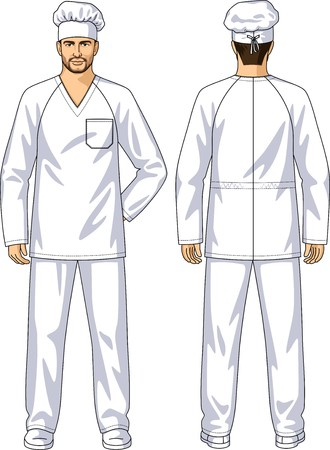 see a doctor: The suit summer for the baker consists of a jacket and trousers Illustration