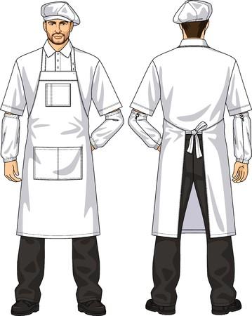 delantal: La demanda para el hombre consiste en un delantal y una boina