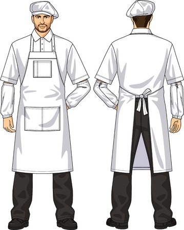 white pants: The suit for the man consists of an apron and a beret