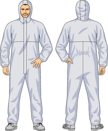 elastic band: Overalls for the man with a hood and a fastener Illustration