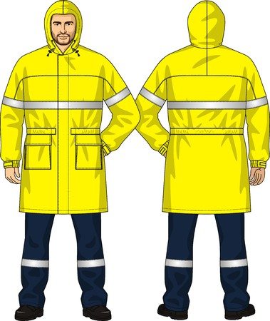 Raincoat for the man with the yellow coquette