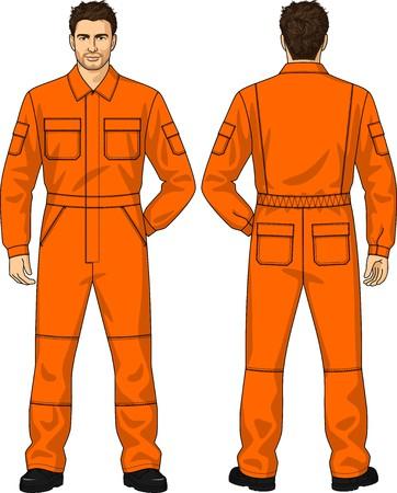 back belt: Naranja Trajes de trabajo para el hombre con los bolsillos Vectores