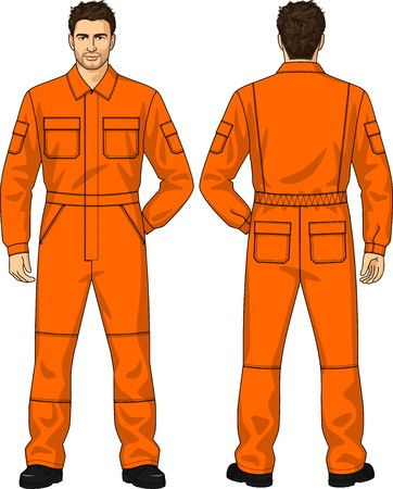 elbow sleeve: Overalls orange for the man with pockets