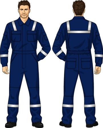 Blauwe overall voor de man met zakken
