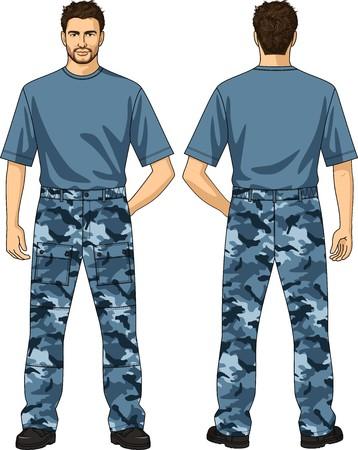 back belt: Pantalones de hombre verano un camuflaje con los bolsillos Vectores