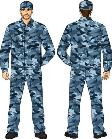 back belt: Traje de camuflaje de verano para el guardia de seguridad