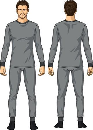 slip homme: Les sous-v�tements pour l'homme compose d'une veste et d'un pantalon Illustration
