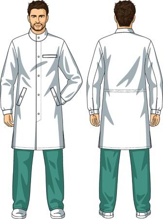 back belt: Bata para el hombre con los bolsillos y un sujetador de botones
