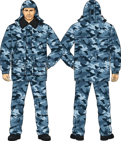 back belt: Suit winter camouflage for the security guard Illustration