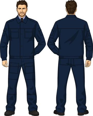 back belt: The suit for the security guard consists of a jacket and trousers Illustration