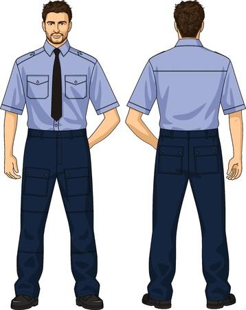 guardia de seguridad: El traje de la guardia de seguridad consiste en una camisa y pantalones