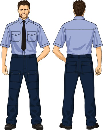 The suit for the security guard consists of a shirt and trousers