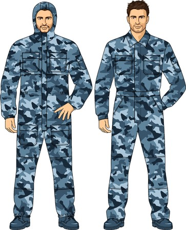 back belt: Overalls for the security guard of color a camouflage Illustration