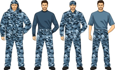 elastic band: Clothes set for the security guard a camouflage Illustration
