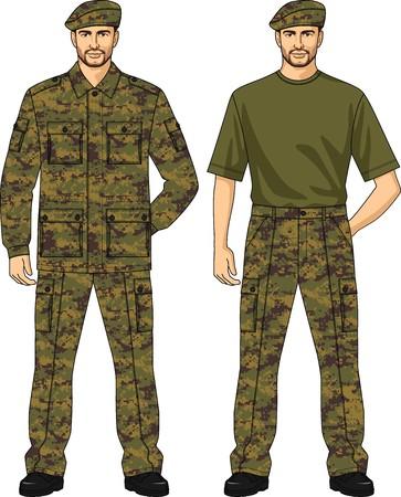 back belt: Traje de camuflaje del verano para el guardia de seguridad Vectores