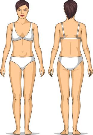 Figur der stehenden Frau vor und hinter Standard-Bild - 37624209