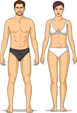 Figuur van de man en vrouw in linnen Stock Illustratie