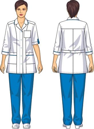 back belt: El m�dico traje para la mujer consiste en una chaqueta y pantalones