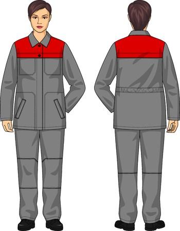 back belt: El traje de la mujer consiste en una chaqueta y pantalones