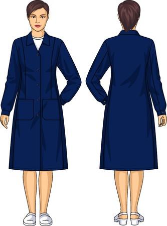 personas de espalda: Bata para la mujer con los bolsillos y un cinturón Vectores