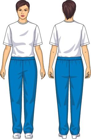 여자에 대한 소송은 티셔츠와 바지로 구성 일러스트
