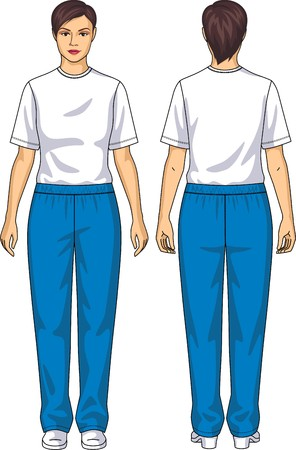 elbows: The suit for the woman consists of a t-shirt and trousers