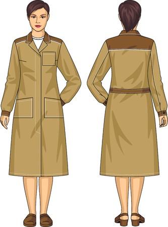 포켓과 벨트 여자를위한 가운을 드레싱 일러스트