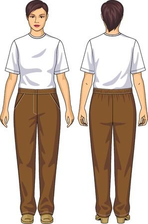 여성을위한 정장 티셔츠와 바지로 구성