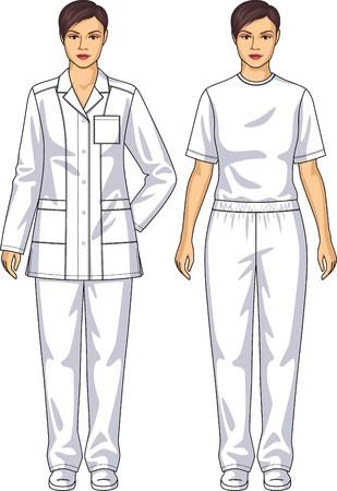 여자를위한 의료 복은 재킷과 바지로 이루어져있다.