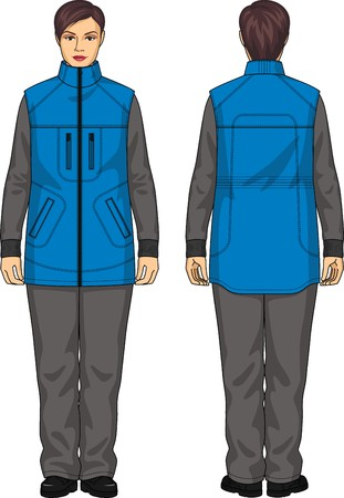 warmed: The vest warmed for the woman with pockets Illustration