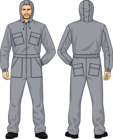 back belt: Overalls for the man with pockets and a hood Illustration