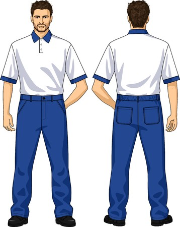 back belt: Polo-neck and trousers with pockets for the man
