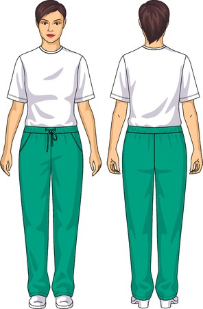 The suit for the woman consists of a t-shirt and trousers