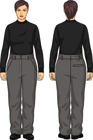 back belt: The suit for the woman consists of a jumper and trousers