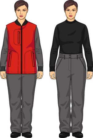 back belt: The suit for the woman consists of a vest and trousers Illustration
