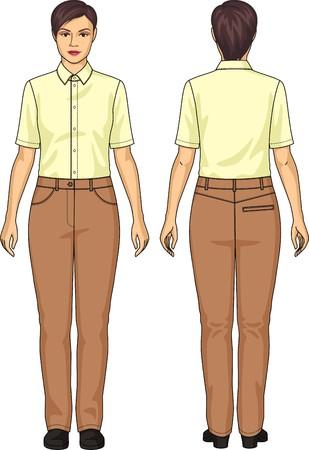 Het pak van de vrouw bestaat uit een blouse en broek