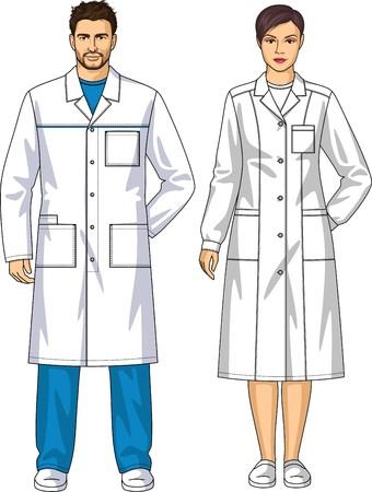 femme dressing: Robe de chambre pour l'homme et la femme avec des poches et une ceinture Illustration