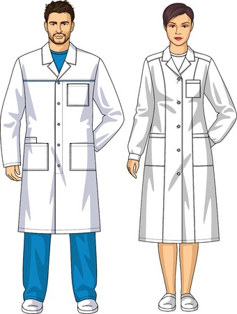Dressing gown for the man and the woman with pockets and a belt Illustration
