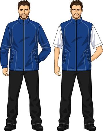 back belt: El entretiempo de traje para el hombre consiste en una chaqueta y pantalones Vectores