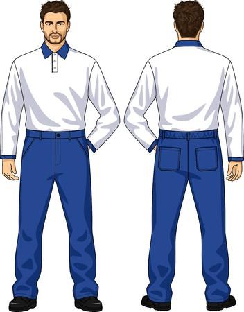 personas de espalda: Polo-cuello y pantalones con bolsillos para el hombre