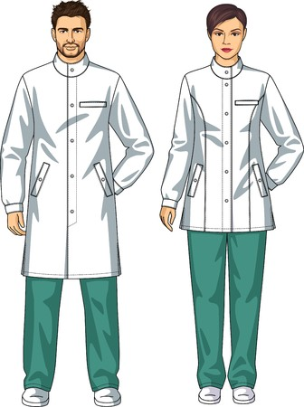 Dressing gown for the man and the woman with pockets and a belt Ilustração