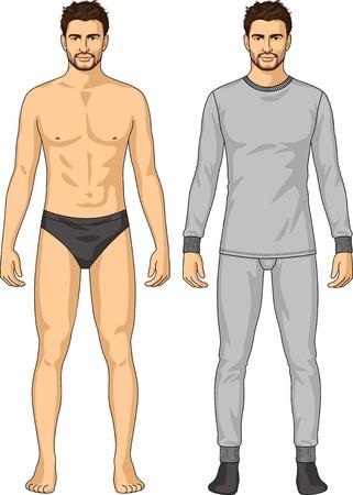 mann unterw�sche: Die Unterw�sche f�r den Mann besteht aus einer Jacke und Hose Illustration